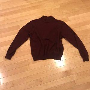 VINTAGE 100% Merino Wool Mock Neck Cropped Sweater